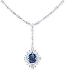 "Swarovski Silver-Tone Crystal Flower Lariat Necklace, 14"" + 2"" extender"