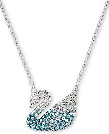 "Swarovski Silver-Tone Crystal Swan Pendant Necklace, 14"" + 7/8"" extender"