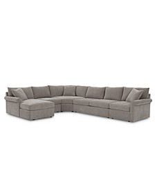 Wedport 5-Pc. Fabric Modular Chaise Sectional Sofa with Wedge Corner Piece, Created for Macy's