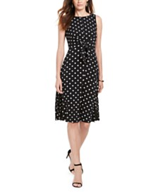 Jessica Howard Petite Polka Dot Tie-Front Dress