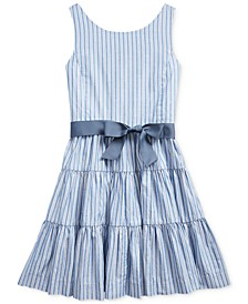 Big Girls Striped Cotton Dobby Dress