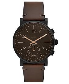 Fossil Q Men's Barstowe Dark Brown Leather Hybrid Smart Watch 42mm