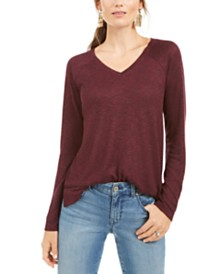 Style & Co Petite Marled-Knit V-Neck Top, Created for Macy's