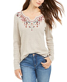Petite Embroidered Thermal Top, Created for Macy's