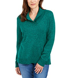 Cotton Marled Shawl-Collar Sweater, Created for Macy's