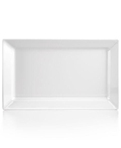 Q Squared Diamond White Large Rectangle Platter