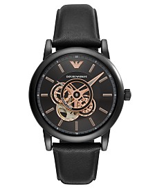 Emporio Armani Men's Automatic Black Leather Strap Watch 43mm