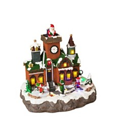 Sterling Brick Building Holiday Village Scene with Moving Figurines