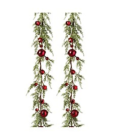 5-Foot Long Holiday Garland with Red Jingle Bells - Set of 2