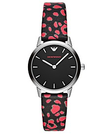 Women's Black & Pink Vegan Leather Strap Watch 32mm