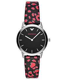 Emporio Armani Women's Black & Pink Vegan Leather Strap Watch 32mm