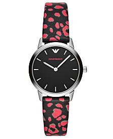 Emporio Armani Women's Black & Pink Vegan Leather Strap Watch 32mm