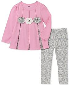 Kids Headquarters Toddler Girls 2-Pc. Contrast Pleated Tunic & Printed Leggings Set