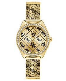 GUESS Men's Gold-Tone Stainless Steel Mesh Bracelet Watch 36.5mm