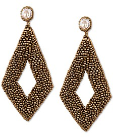 Gold-Tone Animal Print Beaded Drop Earrings