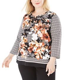 Alfred Dunner Plus Size Street Smart Mixed-Print Top