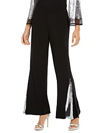 Sequin-Inset Wide-Leg Pants