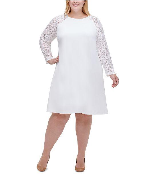 Plus Size Lace-Sleeve A-Line Dress