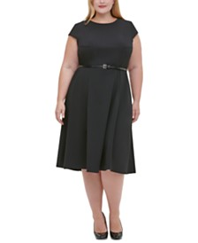 Tommy Hilfiger Plus Size Belted Midi Dress