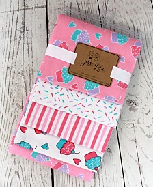Jesse Lulu Infant 4 Pack Receiving Blankets, Cupcake
