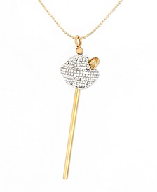 18K Gold over Sterling Silver Necklace, White Crystal Lollipop Pendant