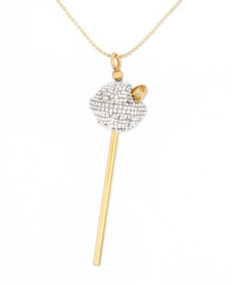 Simone I. Smith 18K Gold over Sterling Silver Necklace White Crystal Lollipop Pendant