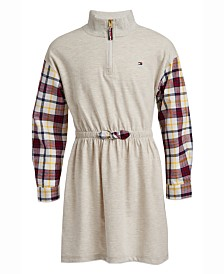 Tommy Hilfiger Big Girls Plaid Sleeve Jersey Dress