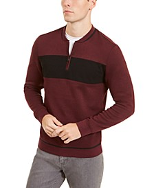 Men's Colorblocked Quarter-Zip Baseball-Collar Sweatshirt, Created for Macy's