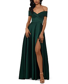 Petite Off-The-Shoulder Ballgown