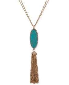 "lonna & lilly Gold-Tone Pavé, Stone & Chain Tassel 32"" Pendant Necklace"