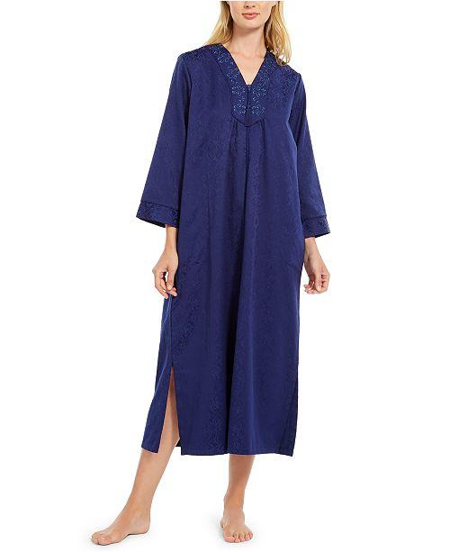 Miss Elaine Jacquard Satin Long Zipper Robe