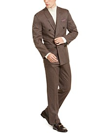 Men's Slim-Fit Stretch Medium Brown Mini-Check Double Breasted Suit