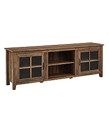 Walker Edison Farmhouse Wood TV Stand with Glass Doors