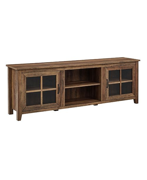 """Walker Edison Farmhouse Wood 70"""" TV Stand with Glass Doors"""