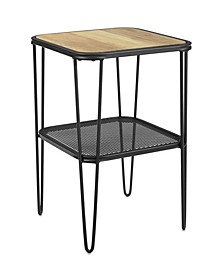 Mid Century Modern Side Table with Hairpin Metal and Mesh