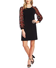 Embroidered Contrast Shift Dress