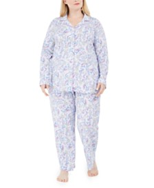 Charter Club Plus Size Cotton Floral-Print Pajamas Set, Created for Macy's