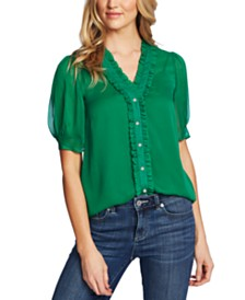 CeCe Puffed-Sleeve Ruffled Blouse