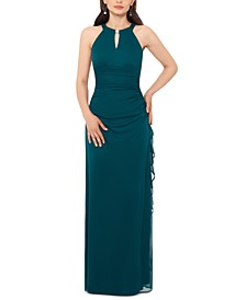 Petite Ruched Embellished Gown