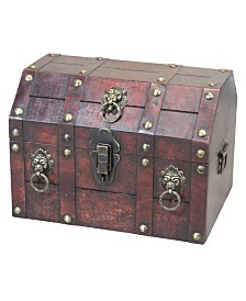 Vintiquewise Antique Wooden Pirate Treasure Chest with Lion Rings and Lockable Latch