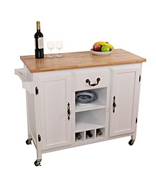 Large Wooden Kitchen Island Trolley with Heavy Duty Rolling Casters