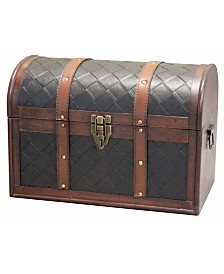 Vintiquewise Wooden Leather Round Top Treasure Chest, Decorative storage Trunk with Lockable Latch