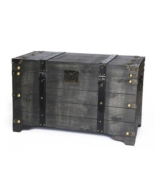 Vintiquewise Distressed Black Large Wooden Storage Trunk Coffee Table