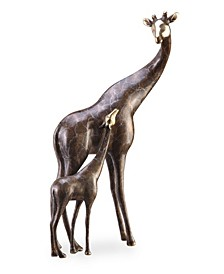 Home Giraffe Mama and Baby Sculpture