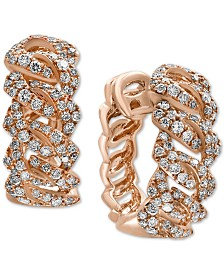 EFFY® Diamond Interlocking Link Hoop Earrings (1-1/6 ct. t.w.) in 14k Rose Gold