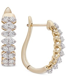 Diamond Marquise-Style Hoop Earrings (1 ct. t.w.) in 14k Gold, Created for Macy's