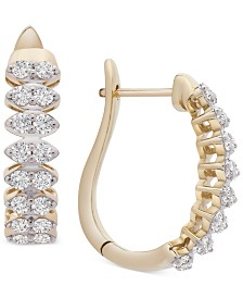Wrapped in Love™ Diamond Marquise-Style Hoop Earrings (1 ct. t.w.) in 14k Gold, Created for Macy's