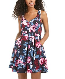 Juniors' Allover-Floral Dress