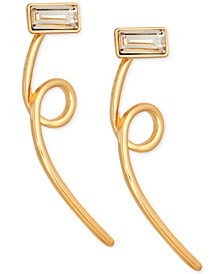 Gold-Tone Crystal Loop Front-and-Back Earrings
