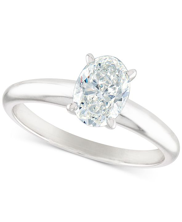 Macy's Certified Diamond Oval Solitaire Engagement Ring (1 ct. t.w.) in 14k White Gold